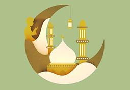Creative Moon with Mosque and Praying Boy for Muslim Community Festival, Ramadan Kareem celebration.